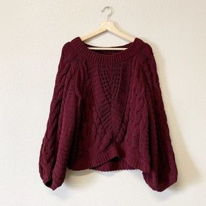 Maroon Oversized Cable Knit Cozy Sweater
